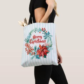 Bolsa Tote Sacola floral da grinalda do Natal elegante