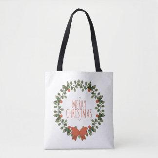Bolsa Tote Sacola floral da grinalda do Natal simples
