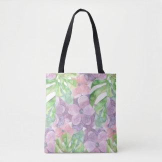 Bolsa Tote Sacola floral do impressão da aguarela toda sobre