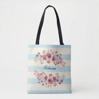 Bolsa Tote Sacola floral do teste padrão da listra azul do