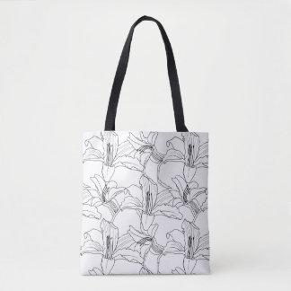Bolsa Tote Sacola floral dos esboços tropicais