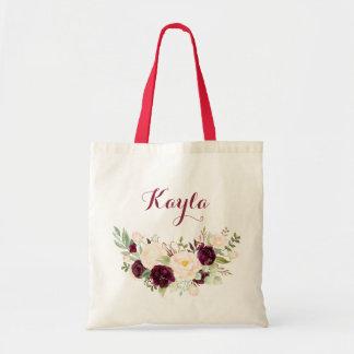 Bolsa Tote Sacola floral personalizada da aguarela de Marsala