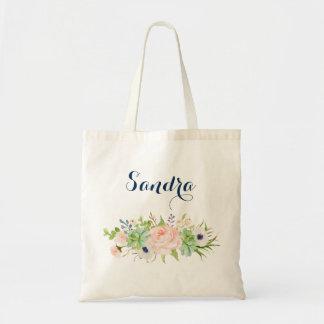 Bolsa Tote Sacola floral personalizada do Succulent do cacto