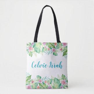 Bolsa Tote Sacola floral tropical personalizada do quadro  