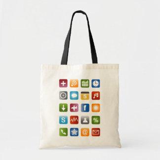 Bolsa Tote Sacola Geeky do hipster com ícones do smartphone