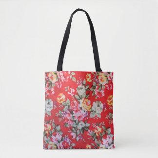 Bolsa Tote Sacola impressa floral vermelha, cor-de-rosa,
