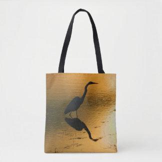 Bolsa Tote Sacola impressa por do sol do Egret