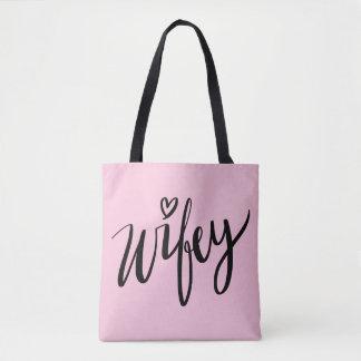 Bolsa Tote Sacola indicada por letras da mão bonito WIFEY