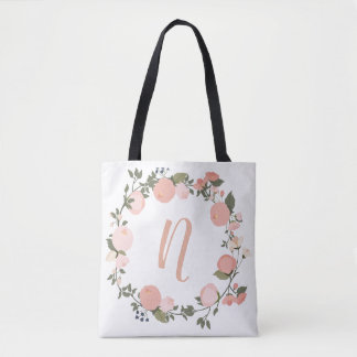 Bolsa Tote Sacola inicial personalizada floral
