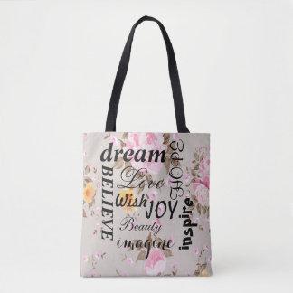 Bolsa Tote Sacola inspirada dos rosas cor-de-rosa do vintage