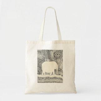 Bolsa Tote Sacola invisível do Doodle do elefante