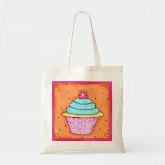 Bolsa Tote Sacola irrisório do cupcake da flor cor-de-rosa