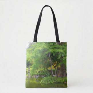 Bolsa Tote Sacola japonesa da lagoa #4 do jardim de chá de