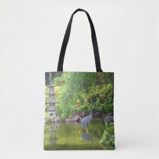 Bolsa Tote Sacola japonesa da lagoa #5 do jardim de chá de