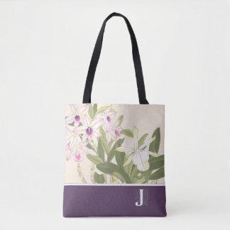 Bolsa Tote Sacola japonesa da orquídea do impressão de bloco