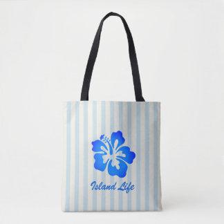 Bolsa Tote Sacola listrada do verão do hibiscus azul