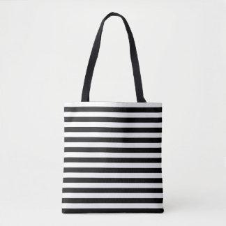 Bolsa Tote Sacola listrada preta & branca