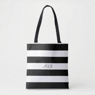 Bolsa Tote Sacola listrada preto e branco feita sob encomenda