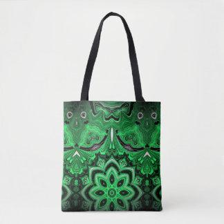 Bolsa Tote Sacola marmoreada da malaquite mandala verde