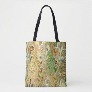 Bolsa Tote Sacola marmoreada do verde e do ouro