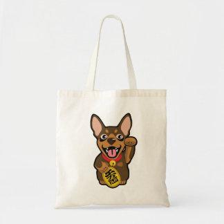 Bolsa Tote Sacola mínima ilustrada do cão do Pin do chocolate