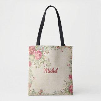 Bolsa Tote Sacola Monogrammed do design floral delicado