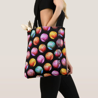 Bolsa Tote sacola multicolorido do voleibol do pop art com