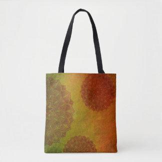 Bolsa Tote Sacola Mystical frente e verso verde & vermelha da