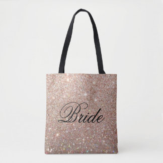 Bolsa Tote Sacola - noiva fabuloso do brilho cor-de-rosa do