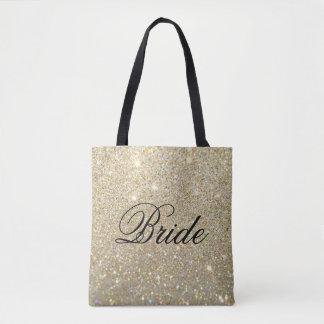 Bolsa Tote Sacola - noiva fabuloso do brilho do ouro