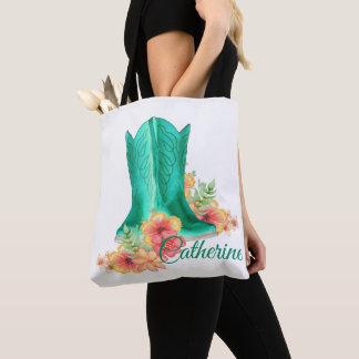 Bolsa Tote Sacola ocidental das botas/flores da vaqueira com
