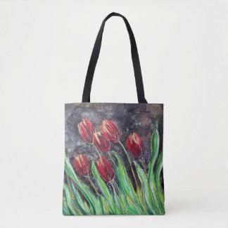 Bolsa Tote Sacola original da flor da arte das tulipas
