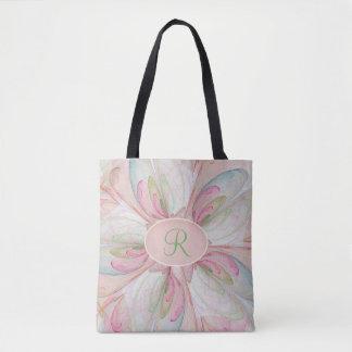 Bolsa Tote Sacola Pastel cor-de-rosa do monograma do