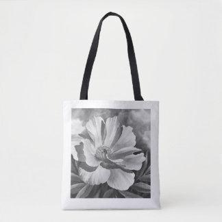 Bolsa Tote Sacola - peônia - preto & branco