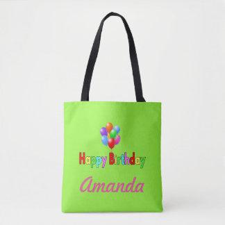 Bolsa Tote Sacola personalizada balão do verde do feliz