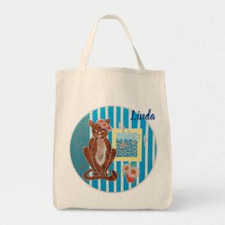 Bolsa Tote Sacola personalizada de Grosery com gato