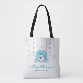 Bolsa Tote Sacola personalizada do boneco de neve do Feliz