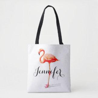 Bolsa Tote Sacola personalizada do flamingo das mulheres
