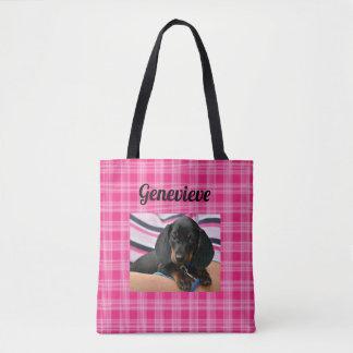 Bolsa Tote Sacola personalizada do rosa do impressão da pata