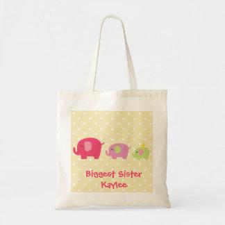 Bolsa Tote Sacola personalizada dos elefantes da irmã a mais