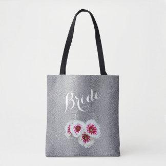 Bolsa Tote Sacola personalizada floral cinzenta do casamento
