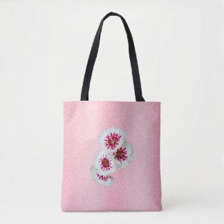 Bolsa Tote Sacola personalizada floral cor-de-rosa do