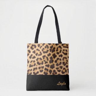 Bolsa Tote Sacola personalizada impressão do leopardo