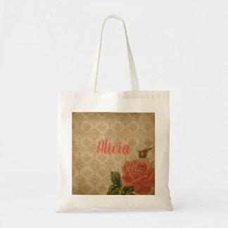 Bolsa Tote Sacola personalizada rosa do vintage