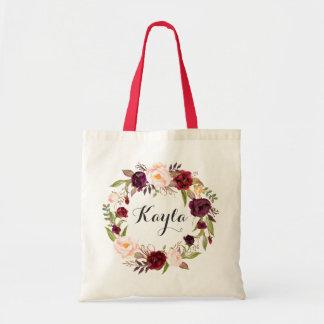 Bolsa Tote Sacola personalizada. Sacola floral. Dama de honra