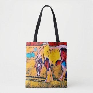 Bolsa Tote Sacola pintada Reversible do cavalo