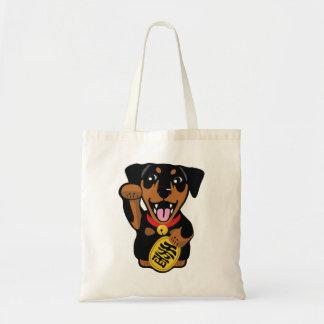 Bolsa Tote Sacola preta afortunada ilustrada do cão do Pin do