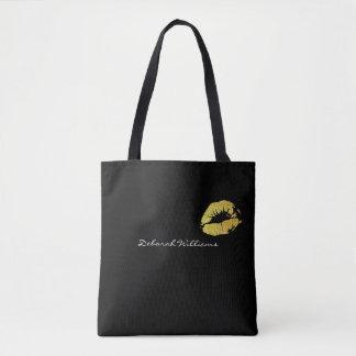 Bolsa Tote sacola preta agradável com seus lábios do nome &