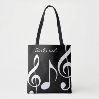 Bolsa Tote sacola preta/branca bonita com notas musicais