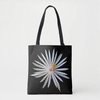 Bolsa Tote Sacola preta com flor branca